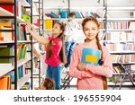 girl with braid stands  holds... | Shutterstock . vector #196555904