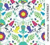 stylized folk floral vector...   Shutterstock .eps vector #1965598867