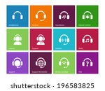headphones icons on color...