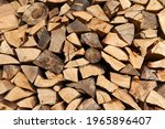 Stack Of Beech Firewood In The...