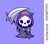 cute grim reaper holding scythe ... | Shutterstock .eps vector #1965897091