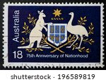 Small photo of AUSTRALIA - CIRCA 1976:A Cancelled postage stamp from Australia illustrating 75th Anniversary of Nationhood, issued in 1976.