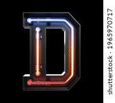 neon light alphabet d with...   Shutterstock . vector #1965970717