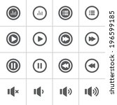 audio and music bold icon set ... | Shutterstock .eps vector #196599185