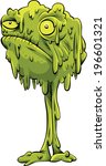 a cartoon monster ball of snot... | Shutterstock .eps vector #196601321
