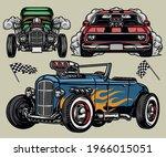 custom retro cars colorful... | Shutterstock .eps vector #1966015051