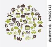 ecology design over white... | Shutterstock .eps vector #196601615