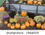 Old Wagon And Pumpkins