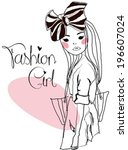 fashion girl | Shutterstock .eps vector #196607024