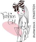 fashion girl | Shutterstock .eps vector #196607024