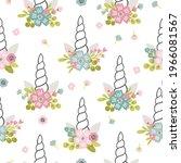 unicorn meadow digital paper ... | Shutterstock .eps vector #1966081567