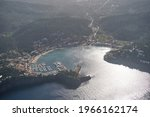 Aerial View Of Calm Costal Town ...