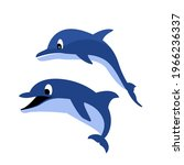 two dolphins vector for a... | Shutterstock .eps vector #1966236337