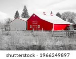 Small photo of Red barn with greyed out backgroud