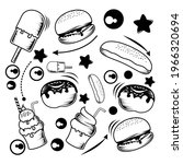 black and white food and... | Shutterstock .eps vector #1966320694
