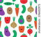 funny vegetables seamless... | Shutterstock .eps vector #196632971