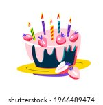 birthday party cake is... | Shutterstock .eps vector #1966489474