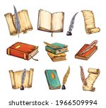 collection of old books and...   Shutterstock .eps vector #1966509994
