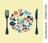 healthy food icons set   ... | Shutterstock .eps vector #196657181