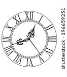old black and white clock face... | Shutterstock .eps vector #196659251