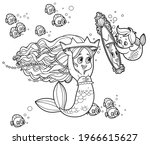 cute little mermaid girl... | Shutterstock .eps vector #1966615627