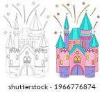 fabulous pink castle  fireworks.... | Shutterstock .eps vector #1966776874