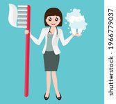 cartoon dentist hold toothbrush.... | Shutterstock .eps vector #1966779037