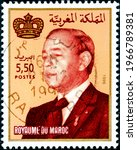 Small photo of MOROCCO - CIRCA 1996: A stamp printed in Morocco shows King Hassan II, circa 1996.