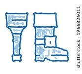 Wooden Leg Sketch Icon Vector....