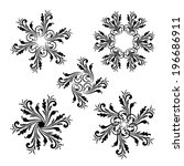 vector set of floral round... | Shutterstock .eps vector #196686911