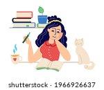 girl writes diary. student home ... | Shutterstock .eps vector #1966926637