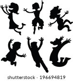 set of cartoon silhouettes of... | Shutterstock .eps vector #196694819