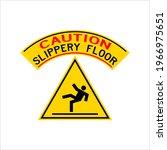 slippery floor caution sign... | Shutterstock .eps vector #1966975651