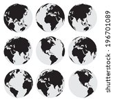 vector globe earth icons on a... | Shutterstock .eps vector #196701089