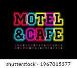 vector colorful neon sign cafe... | Shutterstock .eps vector #1967015377