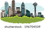 buildings,cartoon,city,cityscape,downtown,illustration,seattle,skyline,skyscraper,vector,washington