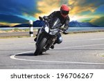 young man riding motorcycle in... | Shutterstock . vector #196706267