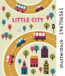 little city card design. vector ... | Shutterstock .eps vector #196706561