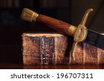 150 year old bible with sword | Shutterstock . vector #196707311