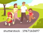 walking with baby. happy family ... | Shutterstock .eps vector #1967163697