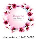 beautiful pink magnolia getting ... | Shutterstock .eps vector #1967164207