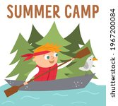 Summer Camp Card With Cute Kid...