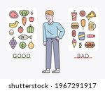 a man sorts diet friendly foods ... | Shutterstock .eps vector #1967291917