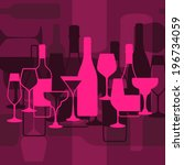 vector background with wine... | Shutterstock .eps vector #196734059