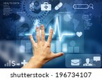 hand touching screen with... | Shutterstock . vector #196734107