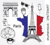 hand drawn set of paris | Shutterstock .eps vector #196735697
