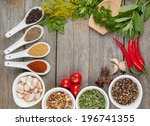 colorful herbs and spices... | Shutterstock . vector #196741355