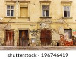 Facade Of The Old Dilapidated...