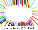 frame with colorful crayons and