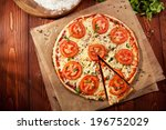 pizza margherita made with... | Shutterstock . vector #196752029